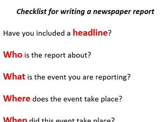 Newspaper reports planning sheets