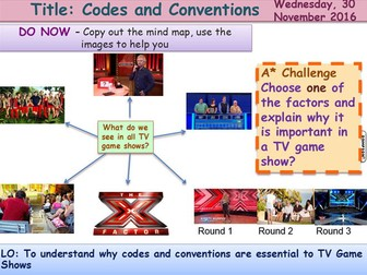 Media Representation 5 Codes and conventions GCSE Media Studies UNIT 1 Media Exams TV Game Shows