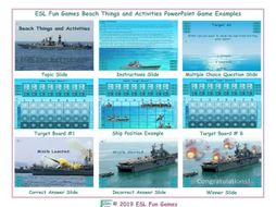 Beach Things and Activities English Battleship PowerPoint Game