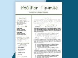 Teacher Resume CV Templates Teaching Cover Letter Instant Download Elementary Resumes