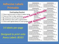 Proofreading Checklist Adhesive Labels Printable Self Assessment Sticky Label J8163