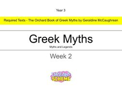Year 3 - This presentation includes 5 whole lessons relating to Greek Myths. Week 2 of 3.