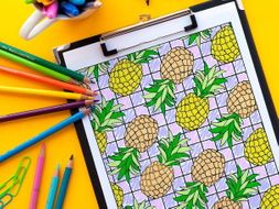"Pineapples Coloring Page Page | Printable PDF 8.5x11"" Coloring Page"