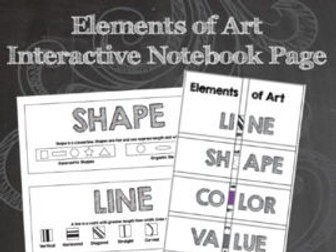 Elements of Art Worksheets - Interactive Notebook Page with Word Wall Posters