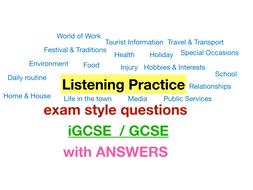 French - GCSE / iGCSE - Listening practice & worksheets (20 recordings, worth £32!)