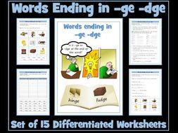 dge ge words ending in ge dge worksheets by krazikas teaching resources. Black Bedroom Furniture Sets. Home Design Ideas