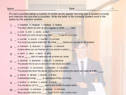 Airports and Hotels Spelling Challenge Worksheet