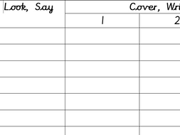 active spelling worksheet look say cover write check