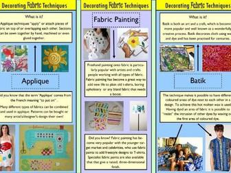 Decorating Fabric Techniques - leaflet for Textiles