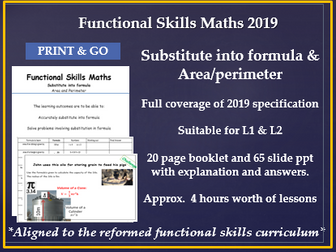 Functional skills maths Formula, Area and Perimeter reformed qualification work book