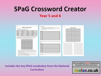 SPAG Crossword Creator For Year 5 and 6