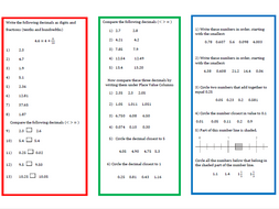 a worksheet on ordering decimals  by resourcesbyemma  teaching  a worksheet on ordering decimals