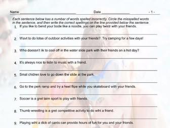 Friendship Activities Spelling Hunt Worksheet