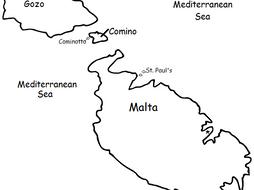 MALTA - Printable handout with map and flag