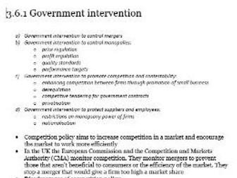 Edexcel A-level Economics Unit 3.6 Government intervention