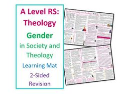 A Level Religious Studies: Gender Learning Mat for Revision