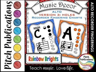 Alto Recorder Fingering Chart Posters v3 HOLES - Music Decor Rainbow Brights
