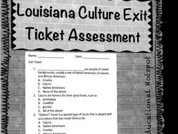 Louisiana Cultures Exit Ticket Assessment
