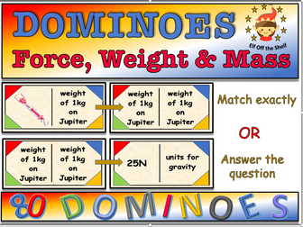 Force, Mass and Weight Dominos Game KS3
