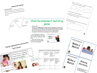 Child development matching game and workbook