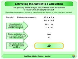 Estimating the Answer to a Calculation KS4