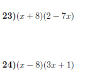 Expanding double brackets worksheet no 3 (with solutions)