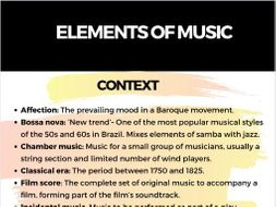 Elements of Music Keywords and Definitions
