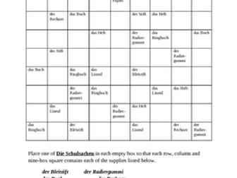 Schulsachen (School Objects in German) Sudoku