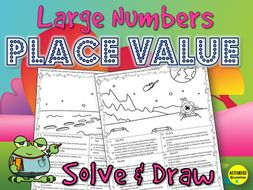 Large Number Place Value Solve & Draw Activity
