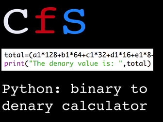 Python: Binary to Denary Calculator