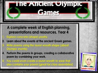 Ancient Greek Poetry  Week - the first Olympics