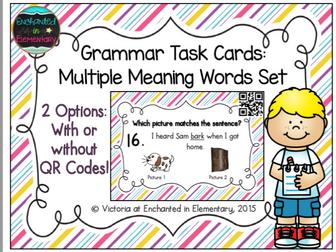 Grammar Task Cards: Multiple Meaning Words Set