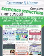 Grammar- Complete Sentence Structure Unit Bundle- Understanding Commas!