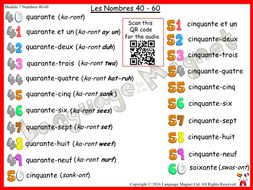 French Numbers 40 to 60 Audio Sheet