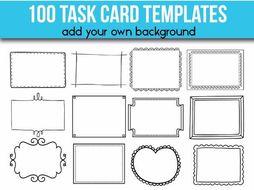 100 Task Card Templates Editable Flash