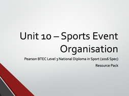 BTEC Level 3 - Unit 10 - Sports Event Organisation Resource Pack (Aims A, B, C & D)
