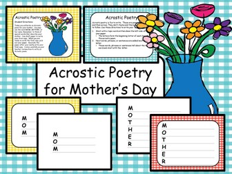 Acrostic Poetry for Mother's Day