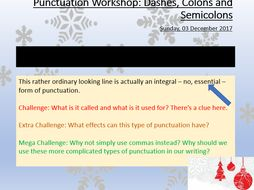 winter descriptive writing dashes colons and semicolons by  whole lesson