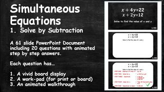 20-Questions-with-Animated-Step-by-Step-Answers.-ALGEBRA.-Simultaneous-Equations.-1.-Solve-by-Subtraction.pptx