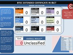 btec l2 extended cert in ict grade calculator in excel by