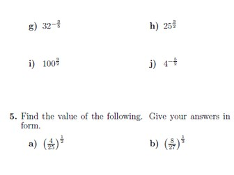 Indices worksheets (with solutions)