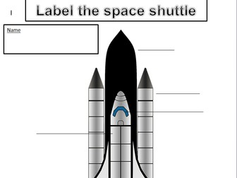 KS1 & 2 Label the space shuttle, label the space rocket, label the space suit (3 worksheets)