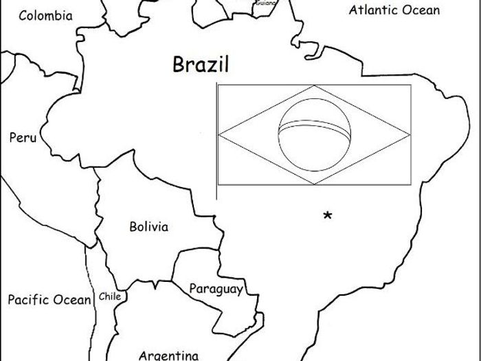 picture relating to Brazil Flag Printable called BRAZIL - Printable handouts with map and flag