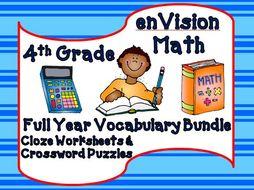 enVision Math Fourth Grade Cloze & Crossword Puzzle Vocabulary Bundle