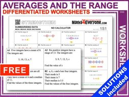 Averages and the Range (Worksheets with Solutions)