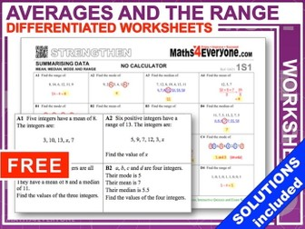 Averages and the Range (Progressive Worksheets with Solutions)