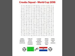 Wordsearch puzzle for the Croatia football squad of World Cup 2018