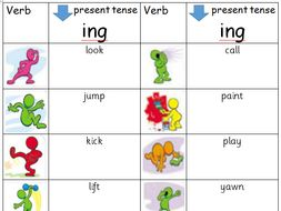 Adding Ing Suffix To Make Present Tense Verbs Flip Chart And Worksheet