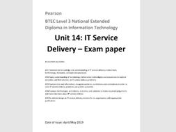 Unit 14 Service Delivery 2019 April/May EXAM PAPER