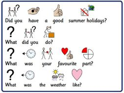 WIDGIT symbolised conversation cards for students with Autism, speech and language difficulties.